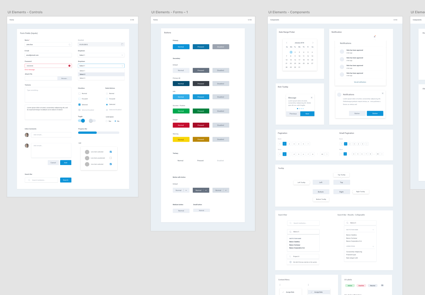 Screenshot of Adobe XD artboards showing a list of User Interface components