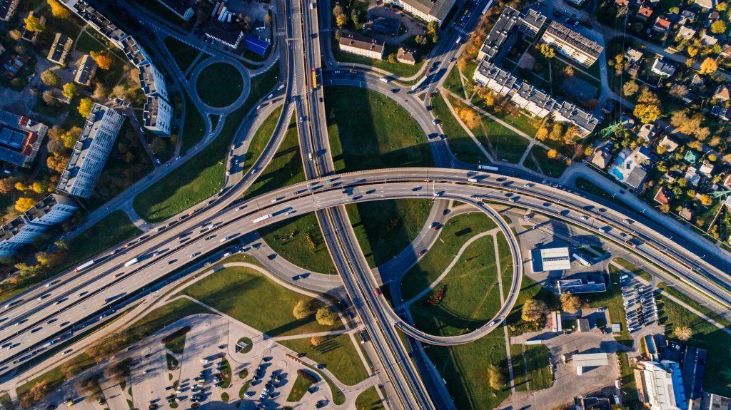 Birds-eye view of highway